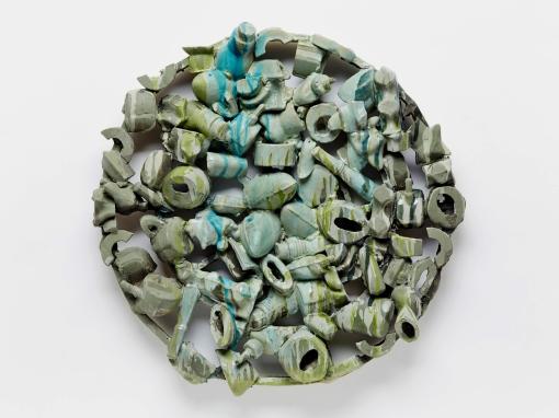 "Darcourt_Green Shield stoneware, underglaze, glaze cone 6, 21""h 2018"